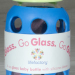 LifeFactory glass water bottle 4oz yellow blue